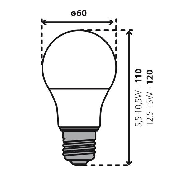 Abmessungen IQ LED Birne - TÜV zertifiziert