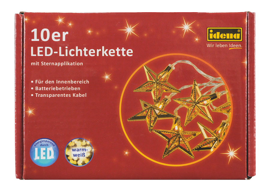 LED Deko-Lichterkette 10LEDs Gold-Sterne
