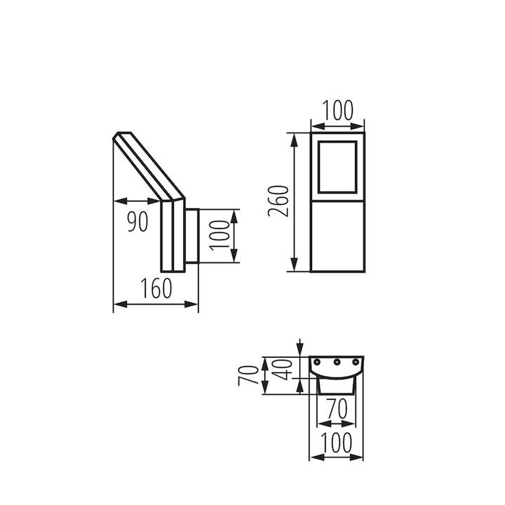 Abmessungen LED Wandleuchte mit Bewegungssensor