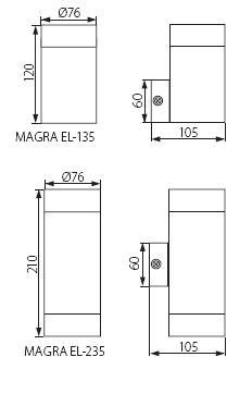 Abmessungen LED Wandstrahler MAGRA EL135