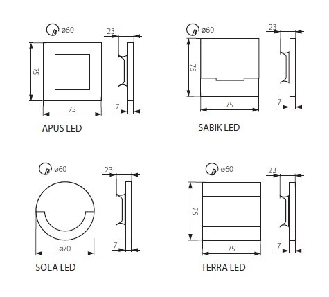 Technische Zeichnung LED Wandeinbaustrahler Treppenleuchte