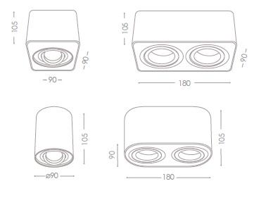 Technische Zeichnung Kanlux Toleo