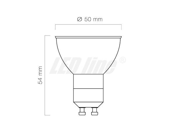 Abmessungen gelber LED Strahler GU10 230V
