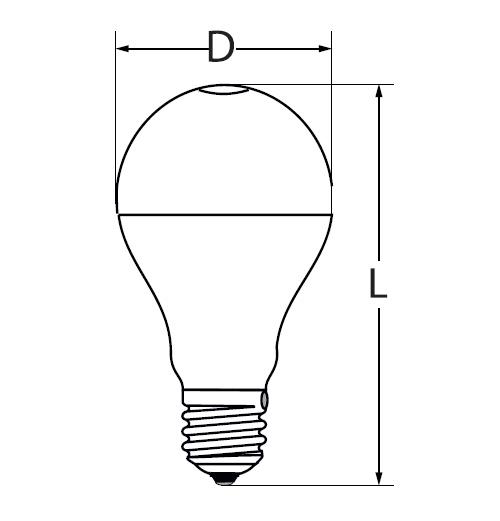 Abmessungen 15W LED Birne / Leuchtmittel