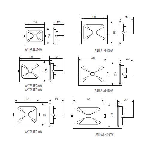 Abmessungen SMD LED Strahler 100W IP65