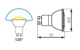 Abmessungen GU10 LED 35mm