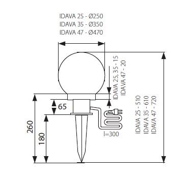 Abmessungen LED Gartenleuchte Kugel E27 IDAVA