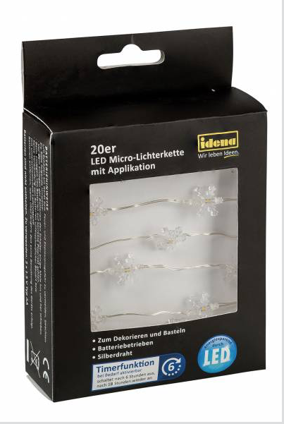 20er LED Micro-Lichterkette Schneeflocken