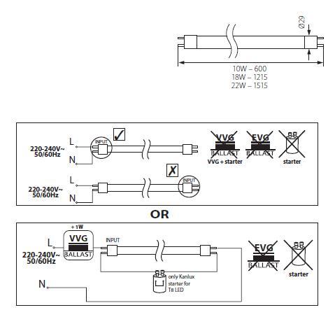 Installationsanleitung für LED Röhren