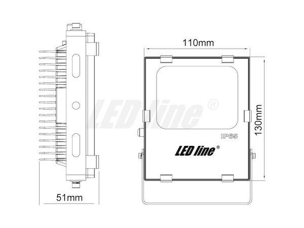 Abmessungen 10W LED Fluter neutralweiß