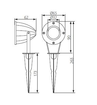 Technische Zeichnung Gartenstrahler