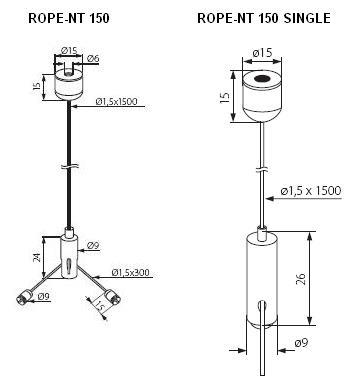 Technische Zeichnung Seil für Fassung und Panel