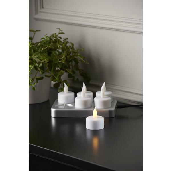 LED Teelicht mit Ladestation und Batterien