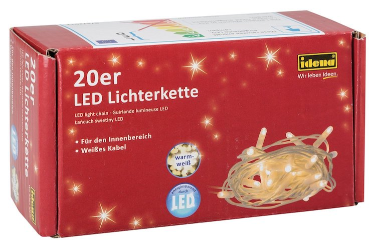 20er LED Lichterkette warmweiss