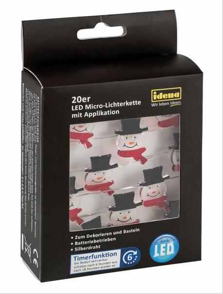 20er LED Micro-Lichterkette Schneefmann