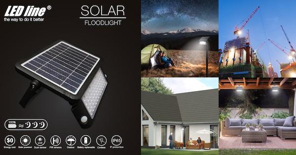 Solar LED Scheinwerfer IP65 mit Bewegungsmelder und Tageslichtsensor